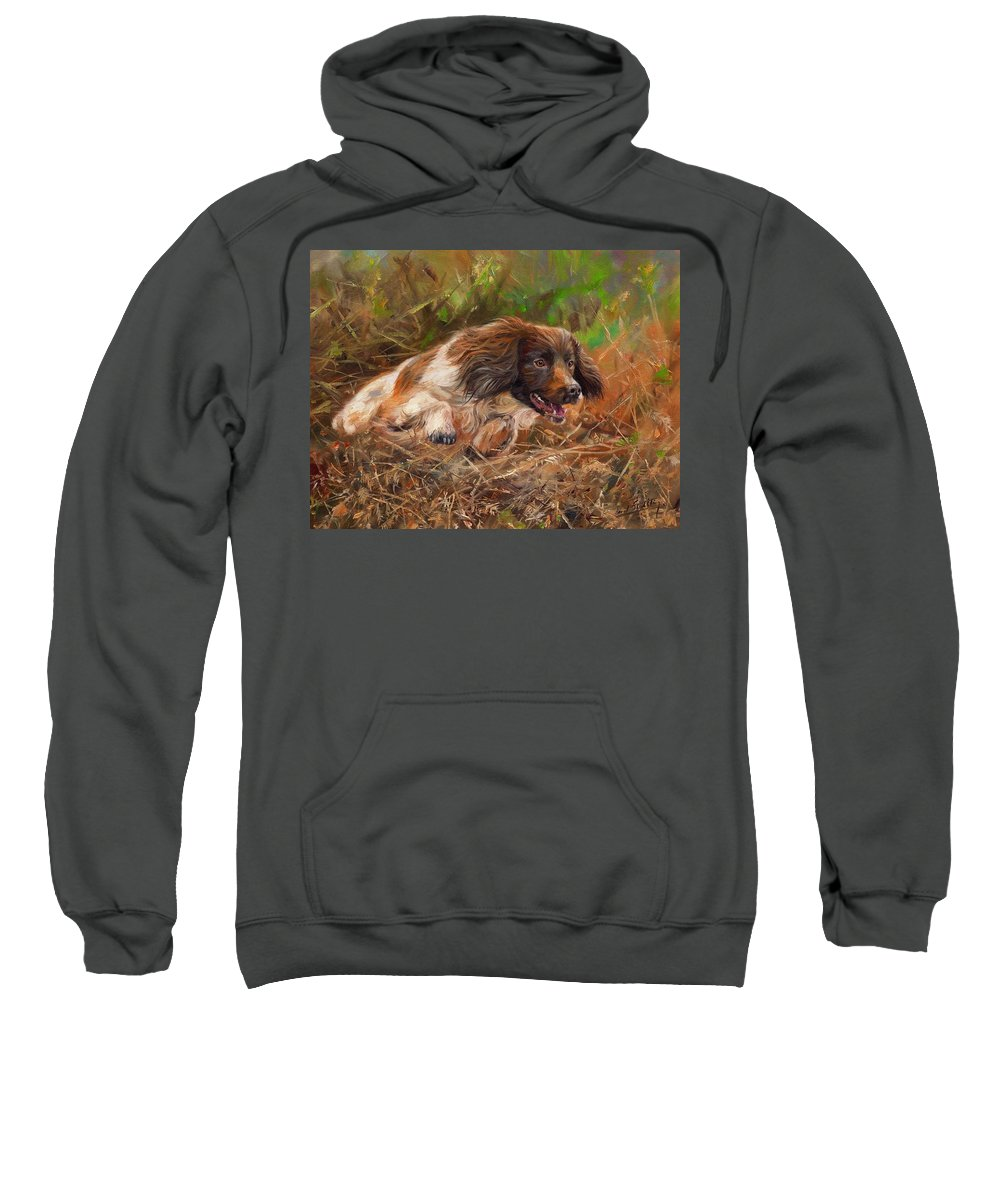 Springer Sweatshirt featuring the painting Springer Spaniel 2 by David Stribbling