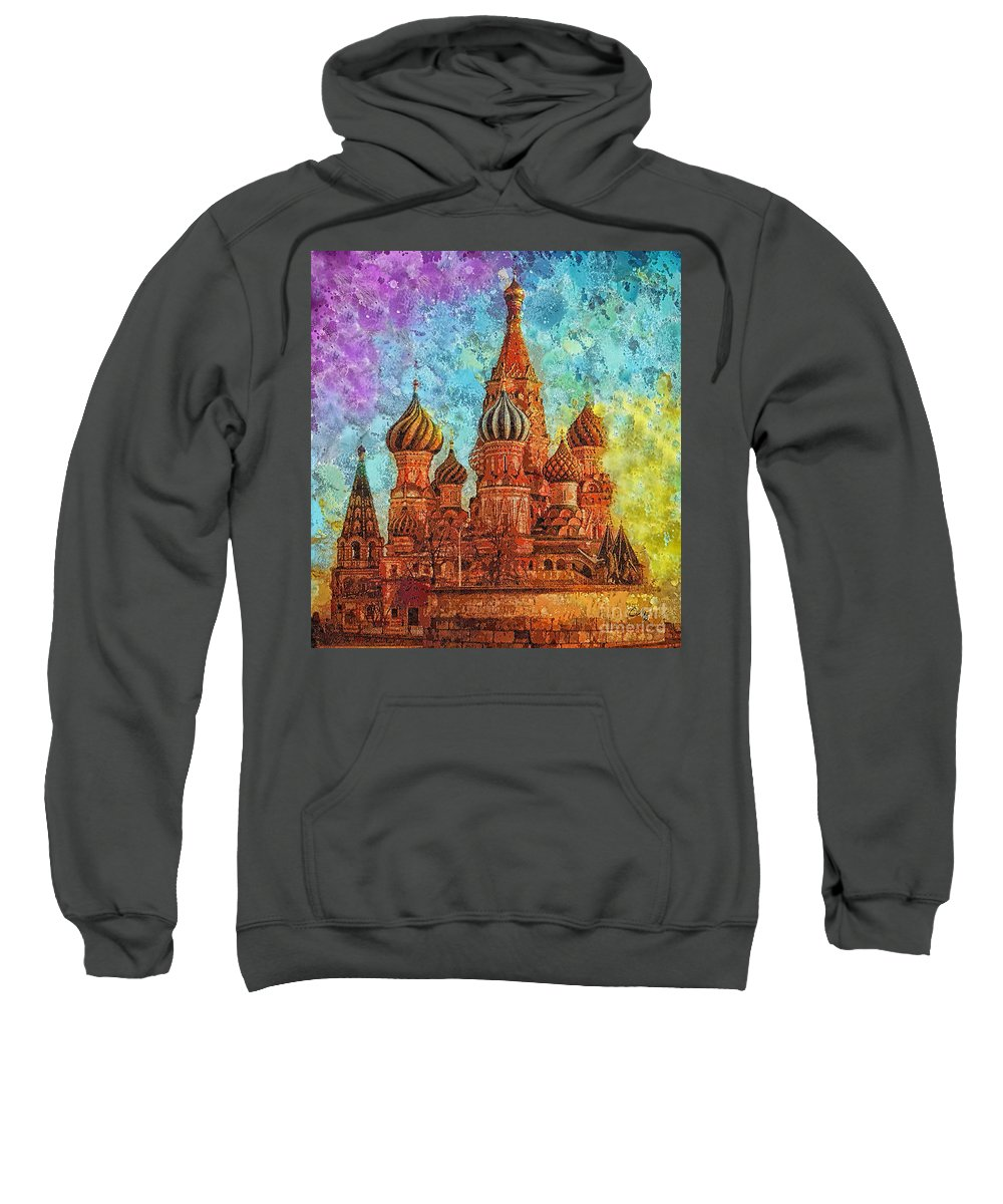 St Basil Sweatshirt featuring the painting St Basil by Mo T