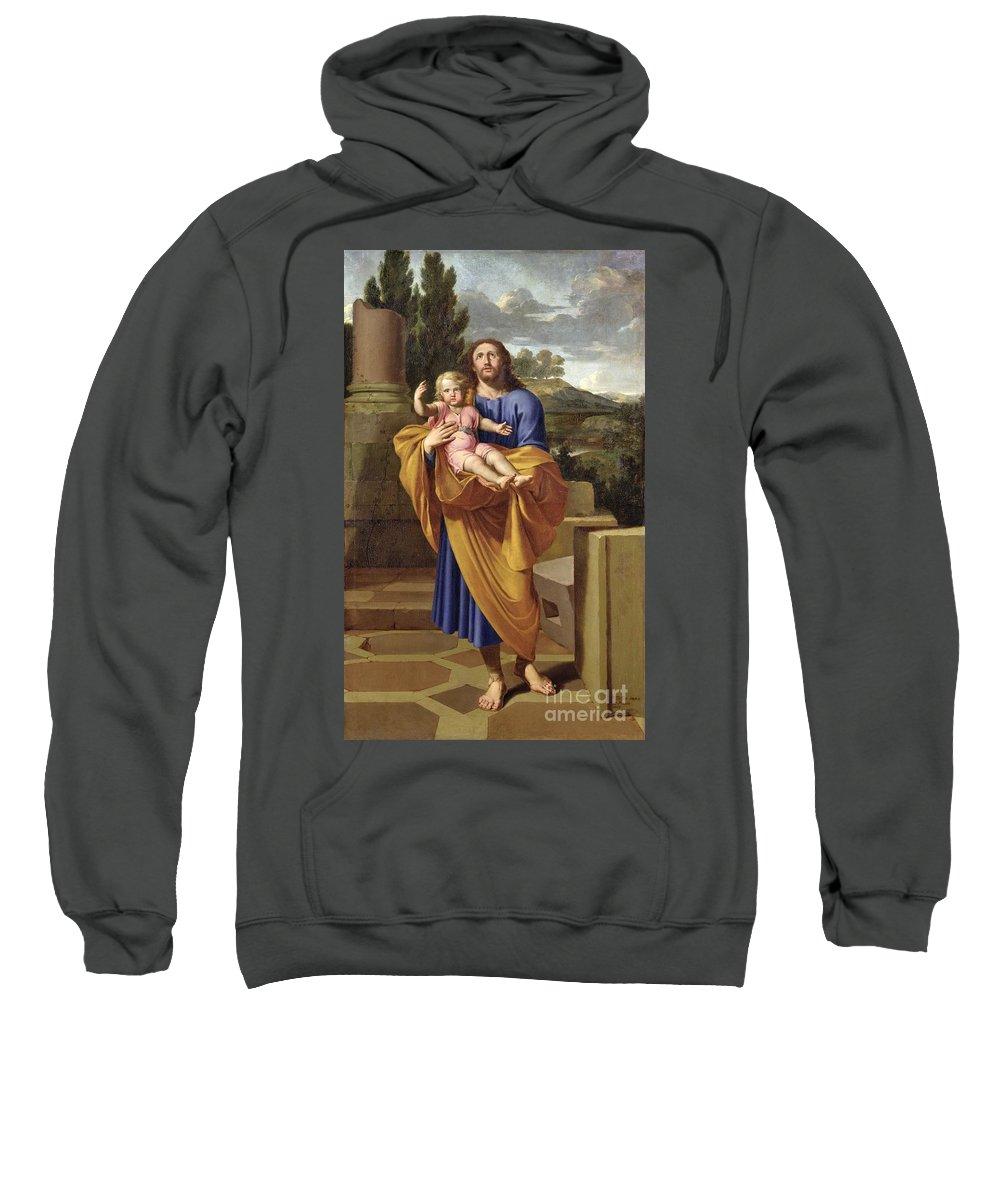 Saint Joseph Sweatshirt featuring the painting St. Joseph Carrying The Infant Jesus by Pierre Letellier