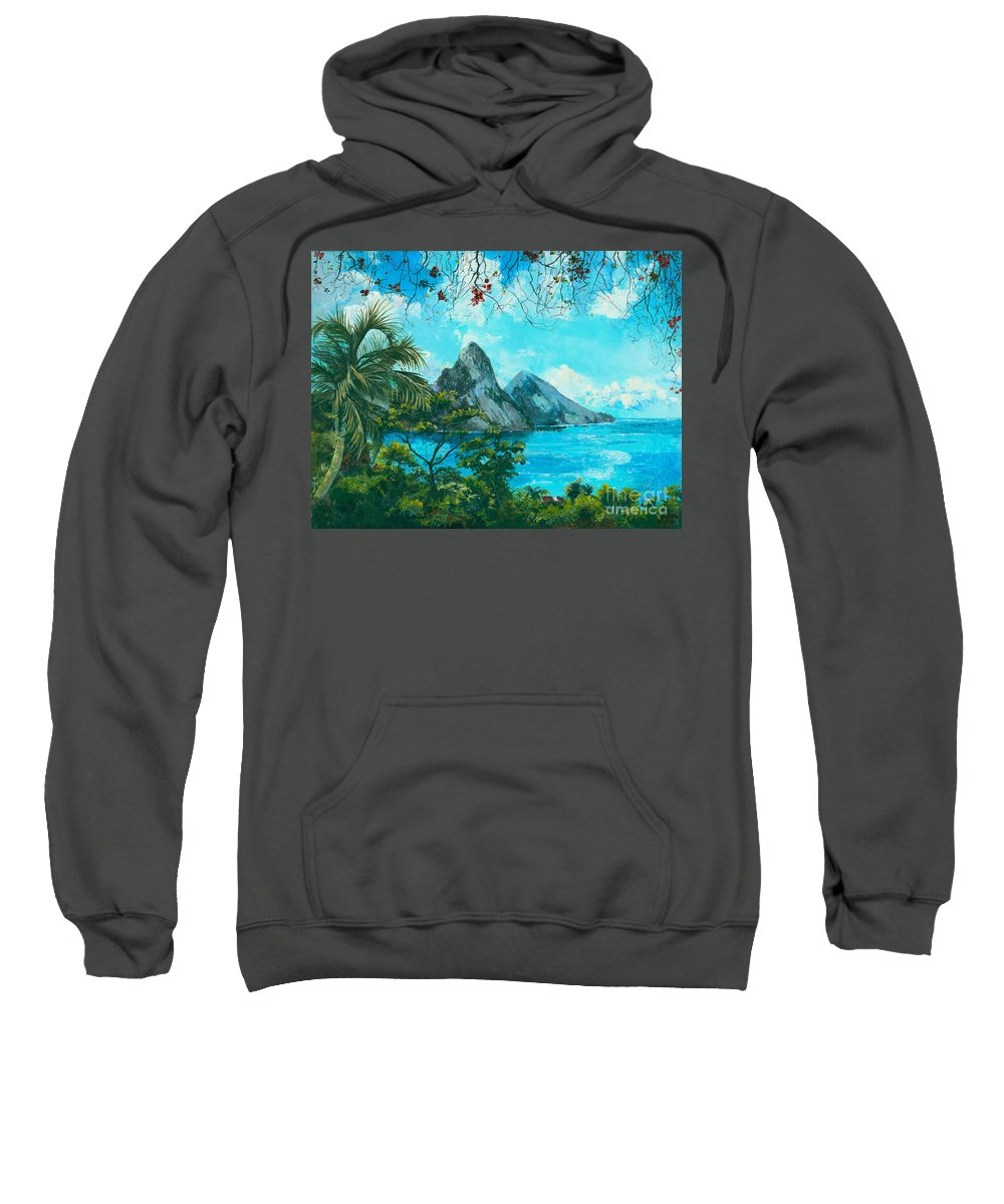 Mountains Sweatshirt featuring the painting St. Lucia - W. Indies by Elisabeta Hermann