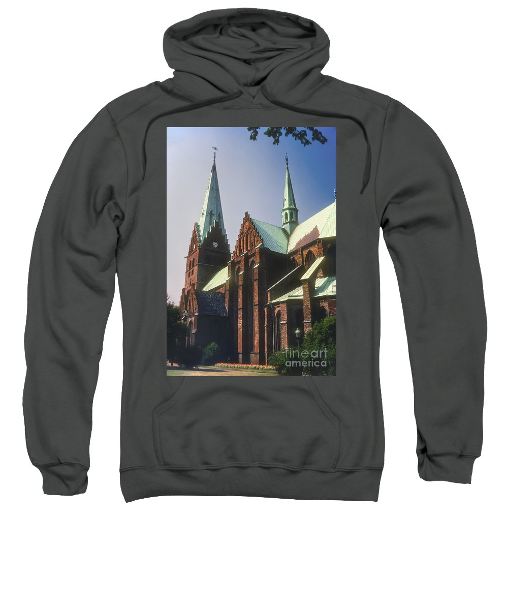 St. Peter Church Malmo Sweden Churches Steeple Steeples Place Places Of Worship Structure Structures Building Buildings Architecture Clock Tower Clocks Towers Sweatshirt featuring the photograph St. Peter Church by Bob Phillips