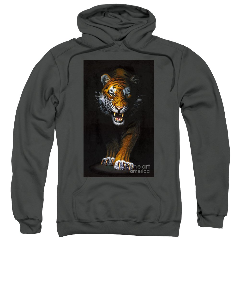 Tiger Sweatshirt featuring the photograph Stalking Tiger by MGL Studio - Chris Hiett