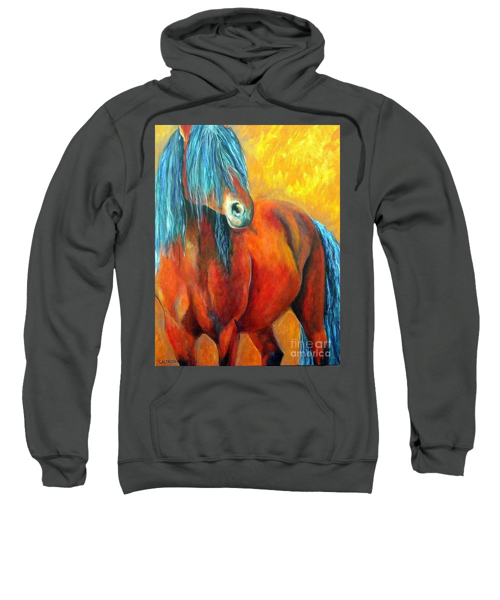 Horse Sweatshirt featuring the painting Stallions Concerto by Alison Caltrider