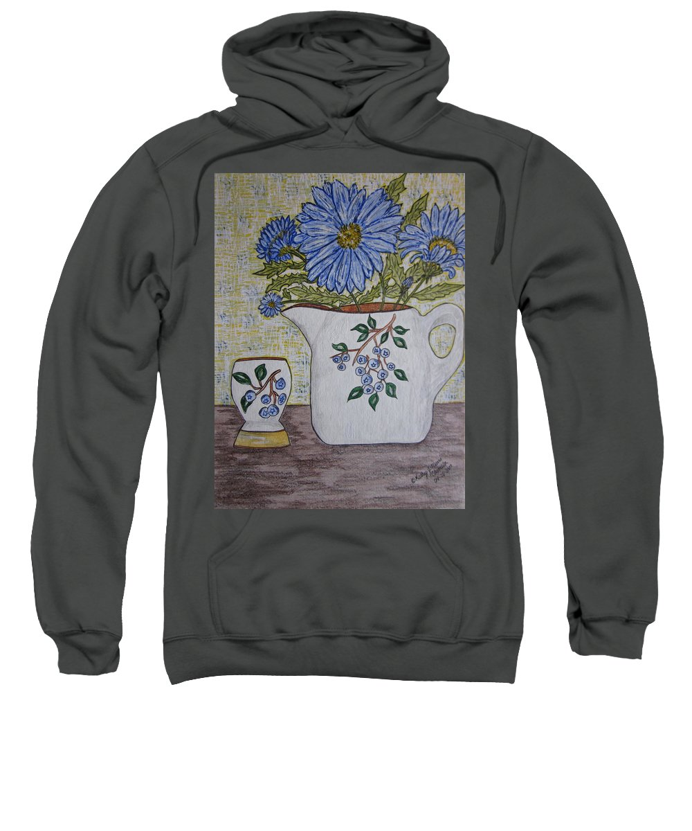 Stangl Blueberry Pottery Sweatshirt featuring the painting Stangl Blueberry Pottery by Kathy Marrs Chandler