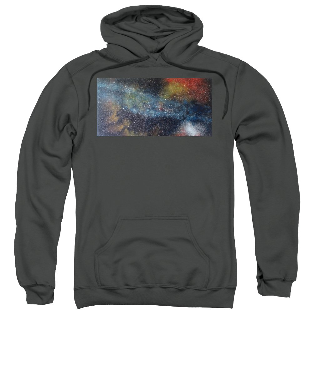 Space;stars;starry;nebula;spiral;galaxy;star Cluster;celestial;cosmos;universe;orgasm Sweatshirt featuring the painting Stargasm by Sean Connolly