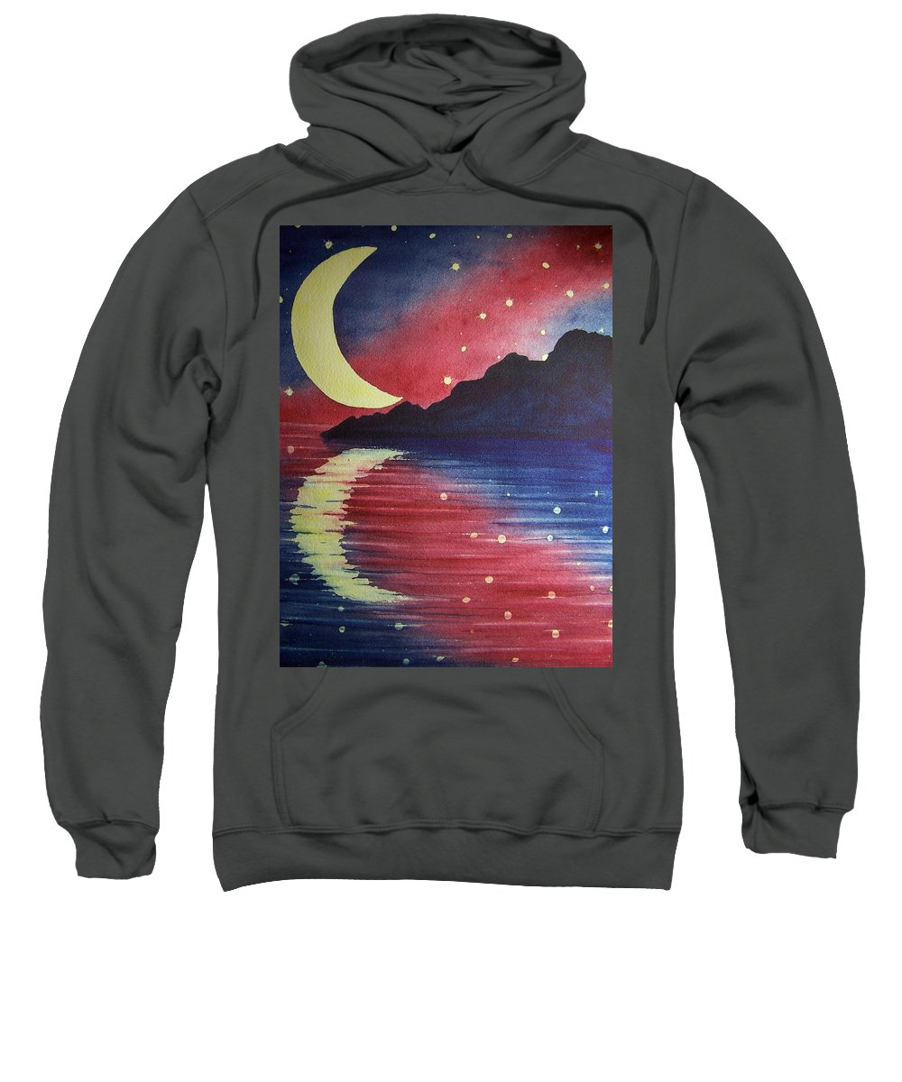 Star Sweatshirt featuring the painting Starry Lake by Conni Reinecke