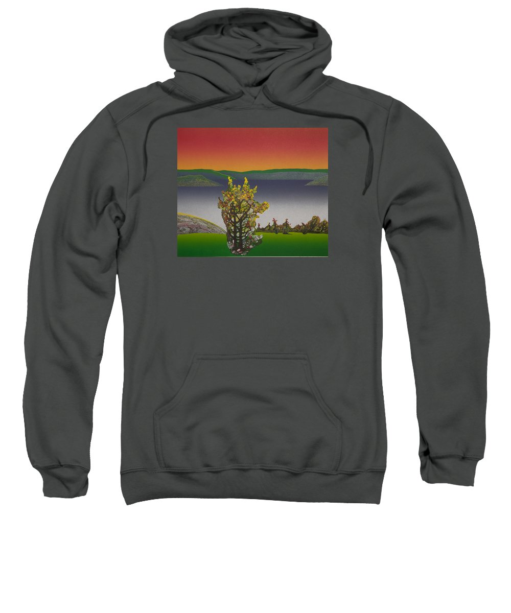 Landscape Sweatshirt featuring the drawing Static View. by Jarle Rosseland