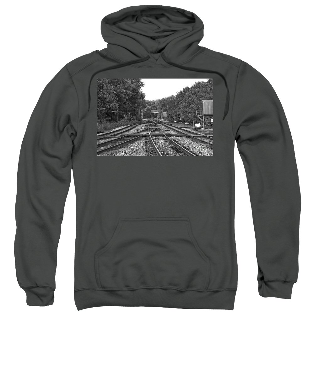Railroad Sweatshirt featuring the photograph Steel Rail Intersections.  Point Of Rocks Md by Thomas Marchessault