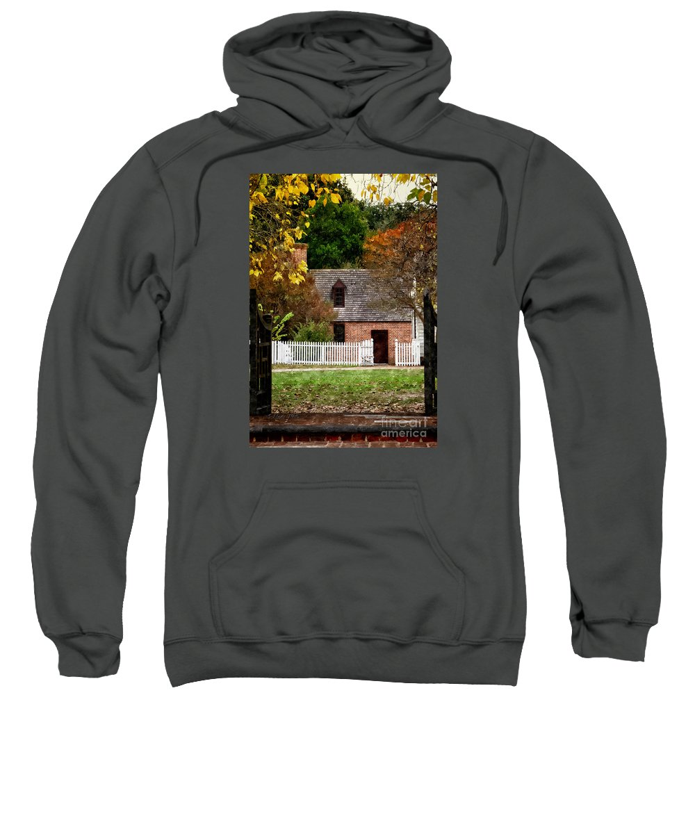 Cottage Sweatshirt featuring the painting Step Through Time by Shari Nees
