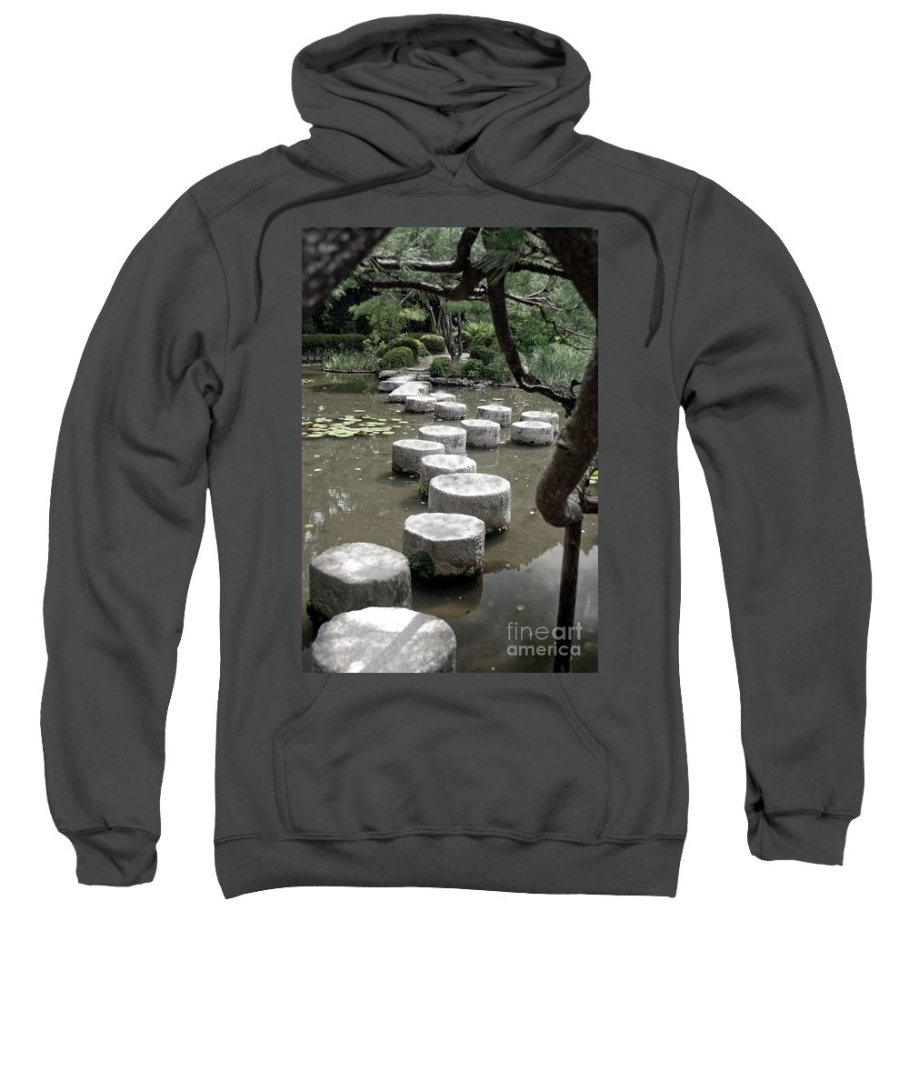 Kyoto Sweatshirt featuring the photograph Stepping Stone Kyoto Japan by Thomas Marchessault