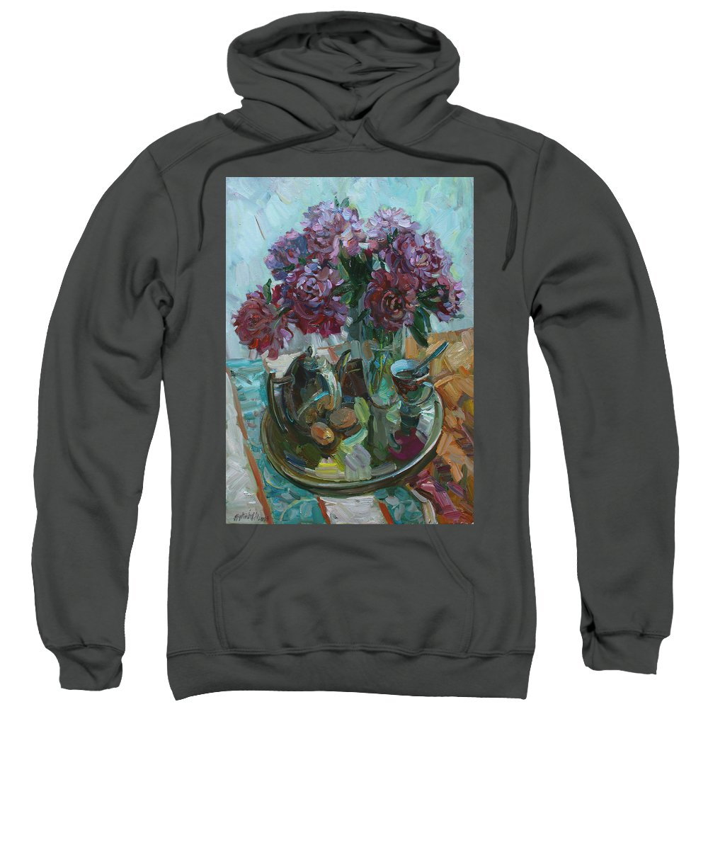 Still Life Sweatshirt featuring the painting Still Life With Peonies by Juliya Zhukova