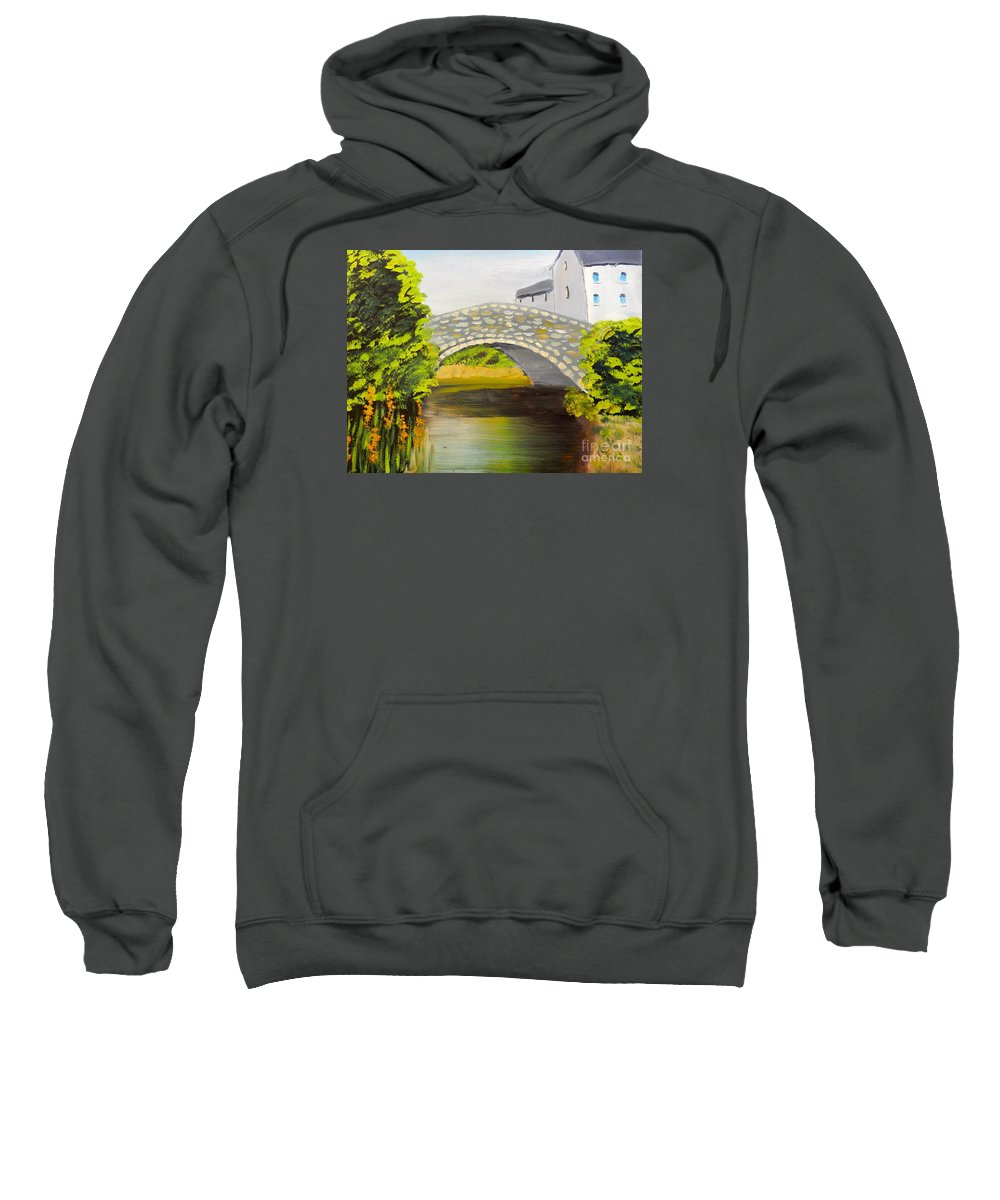 Impressionism Sweatshirt featuring the painting Stone Bridge At Burrowford Uk by Pamela Meredith