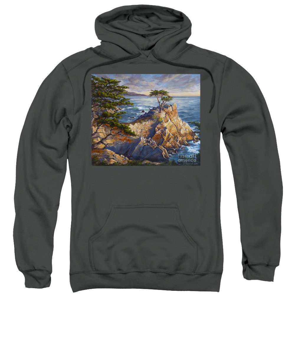 Pebble Bbach Sweatshirt featuring the painting Stone's Edge by Shelley Cost