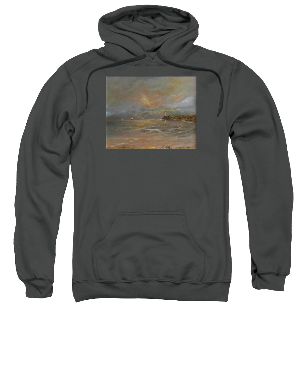 Eye Of The Storm Sweatshirt featuring the painting Storm At The Shore by Robert Wright