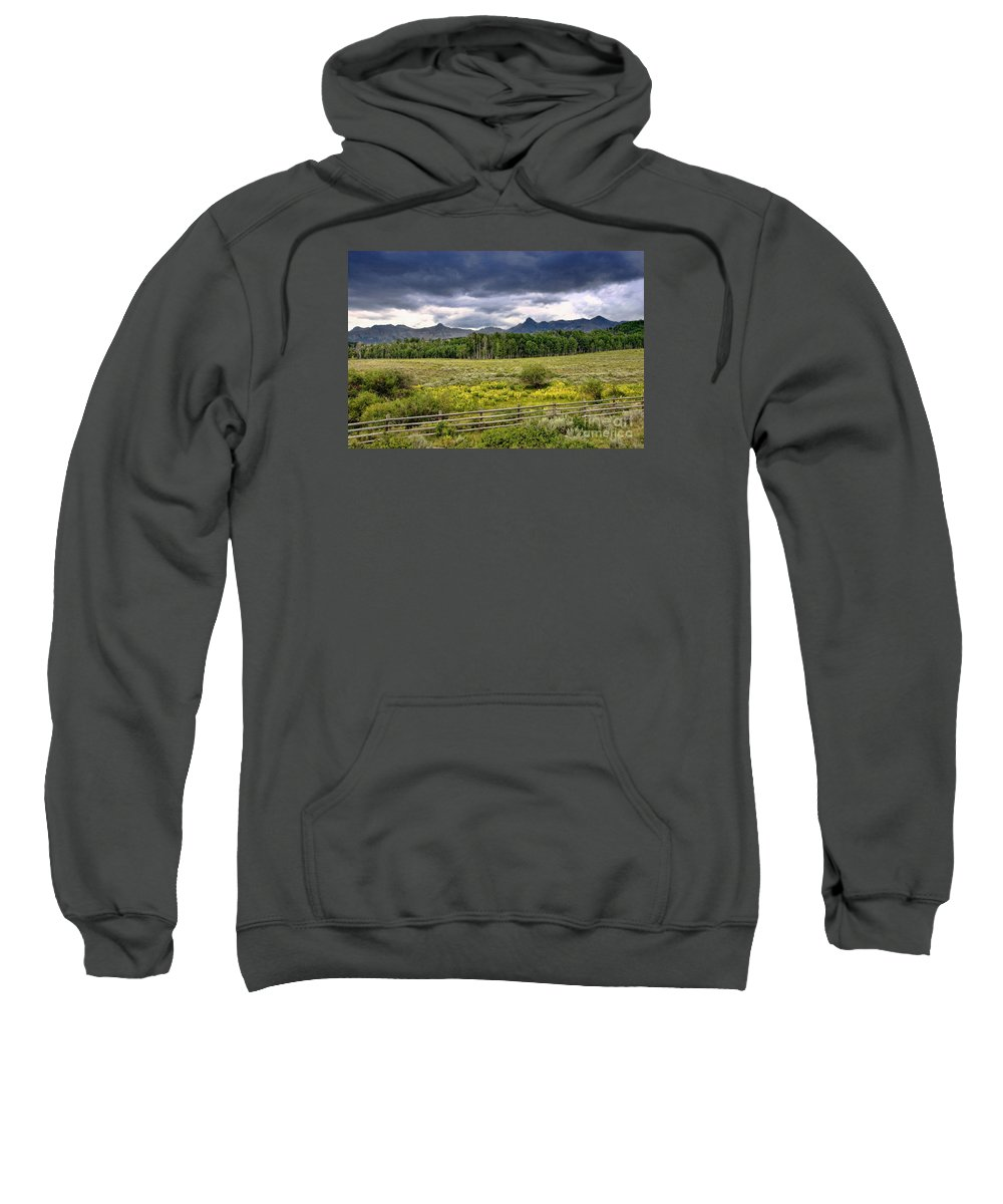 Colorado Sweatshirt featuring the photograph Storm Clouds Over The Rockies by David Perry Lawrence