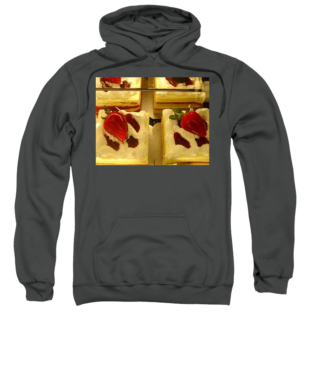 Kitchen Sweatshirt featuring the painting Strawberry Cakes by Amy Vangsgard