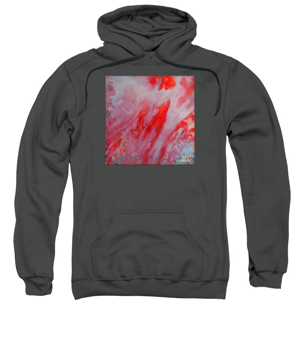Abstract Sweatshirt featuring the painting Strawberry Ice Cream by Dragica Micki Fortuna
