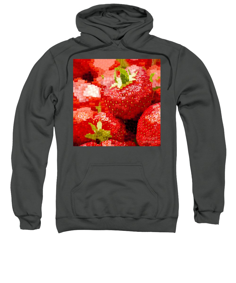 Ananassa Sweatshirt featuring the photograph Strawberry Mosaic by Anne Gilbert