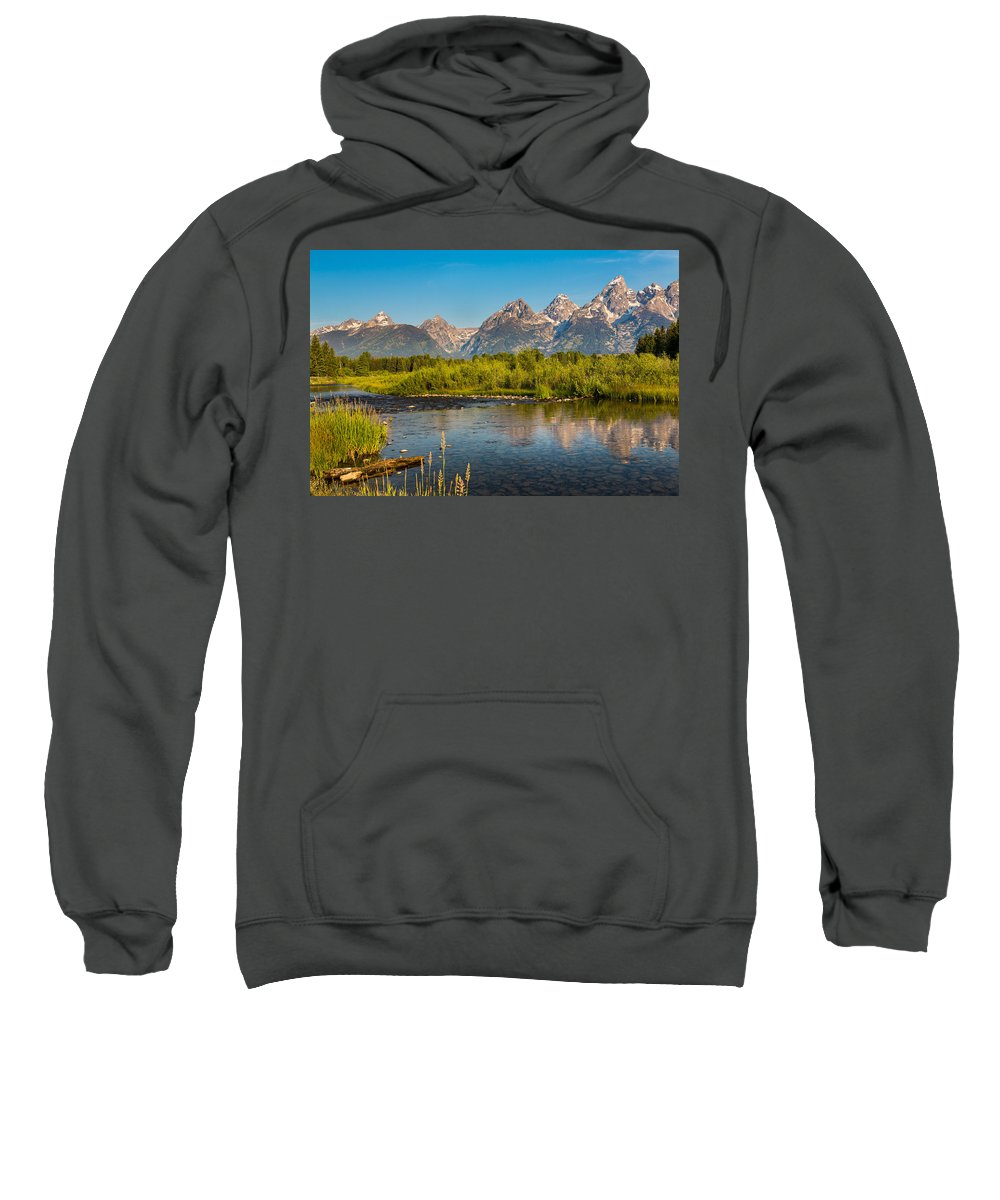 Grand Tetons Sweatshirt featuring the photograph Stream At The Tetons by Robert Bynum