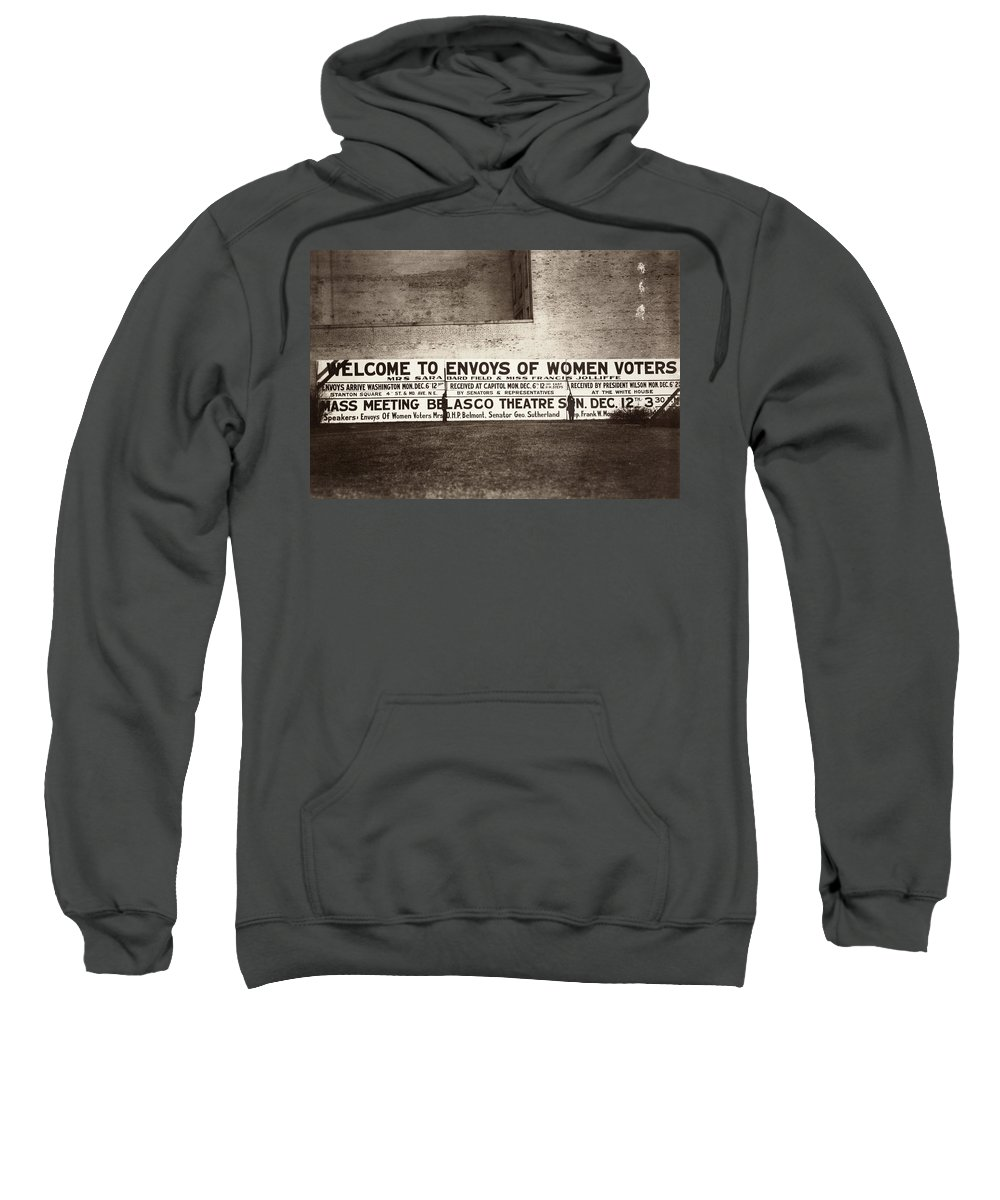 1915 Sweatshirt featuring the photograph Suffrage Billboard, 1915 by Granger