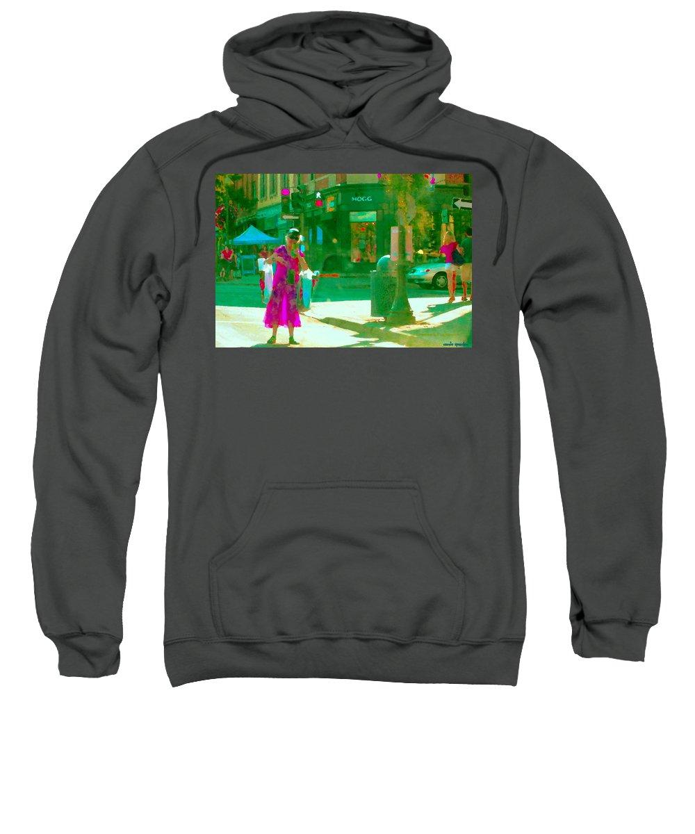 Hogg Hardware Sweatshirt featuring the painting Summer Heatwave Too Hot To Walk Lady Hailing Taxi Cab At Hogg Hardware Rue Sherbrooke Carole Spandau by Carole Spandau
