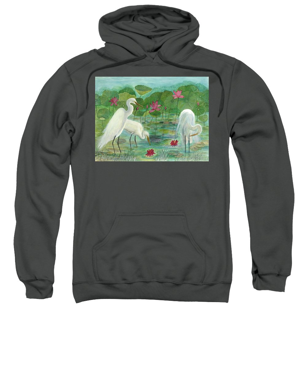 Lily Pads; Egrets; Low Country Sweatshirt featuring the painting Summer Trilogy by Ben Kiger