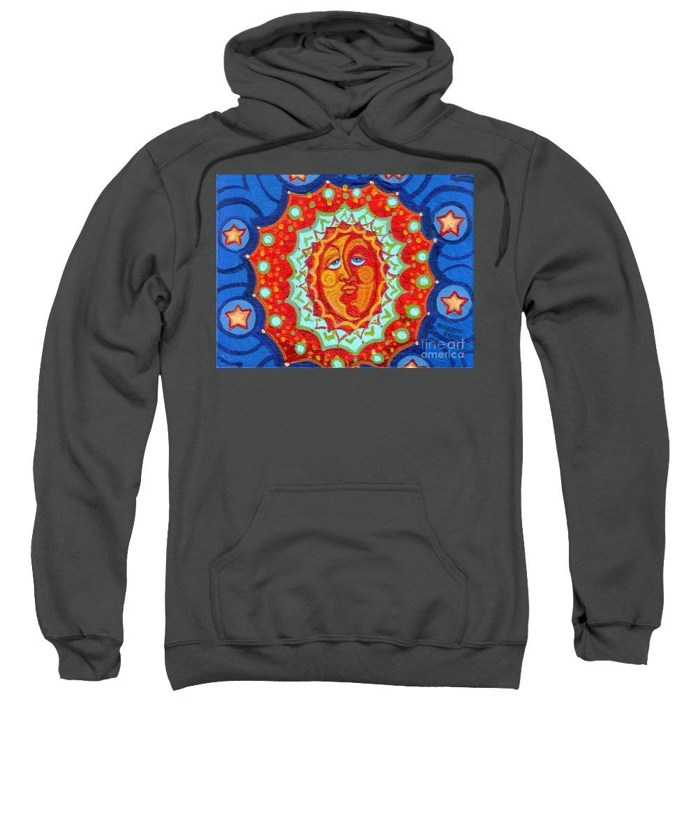 Sun Sweatshirt featuring the painting Sun God by Genevieve Esson