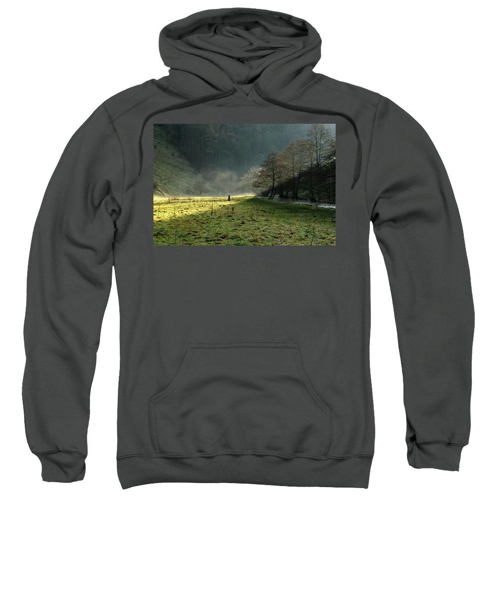 Britain Sweatshirt featuring the photograph Sunbeams And Mist - Wolfscote Dale by Rod Johnson