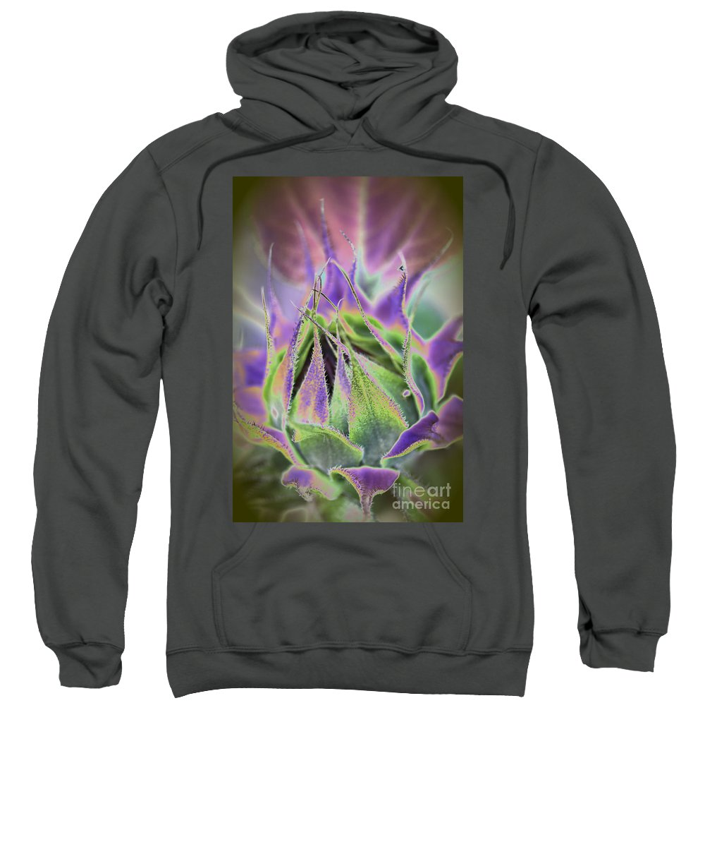 Sunflower Sweatshirt featuring the photograph Sunflower Bud Abstract by Christiane Schulze Art And Photography