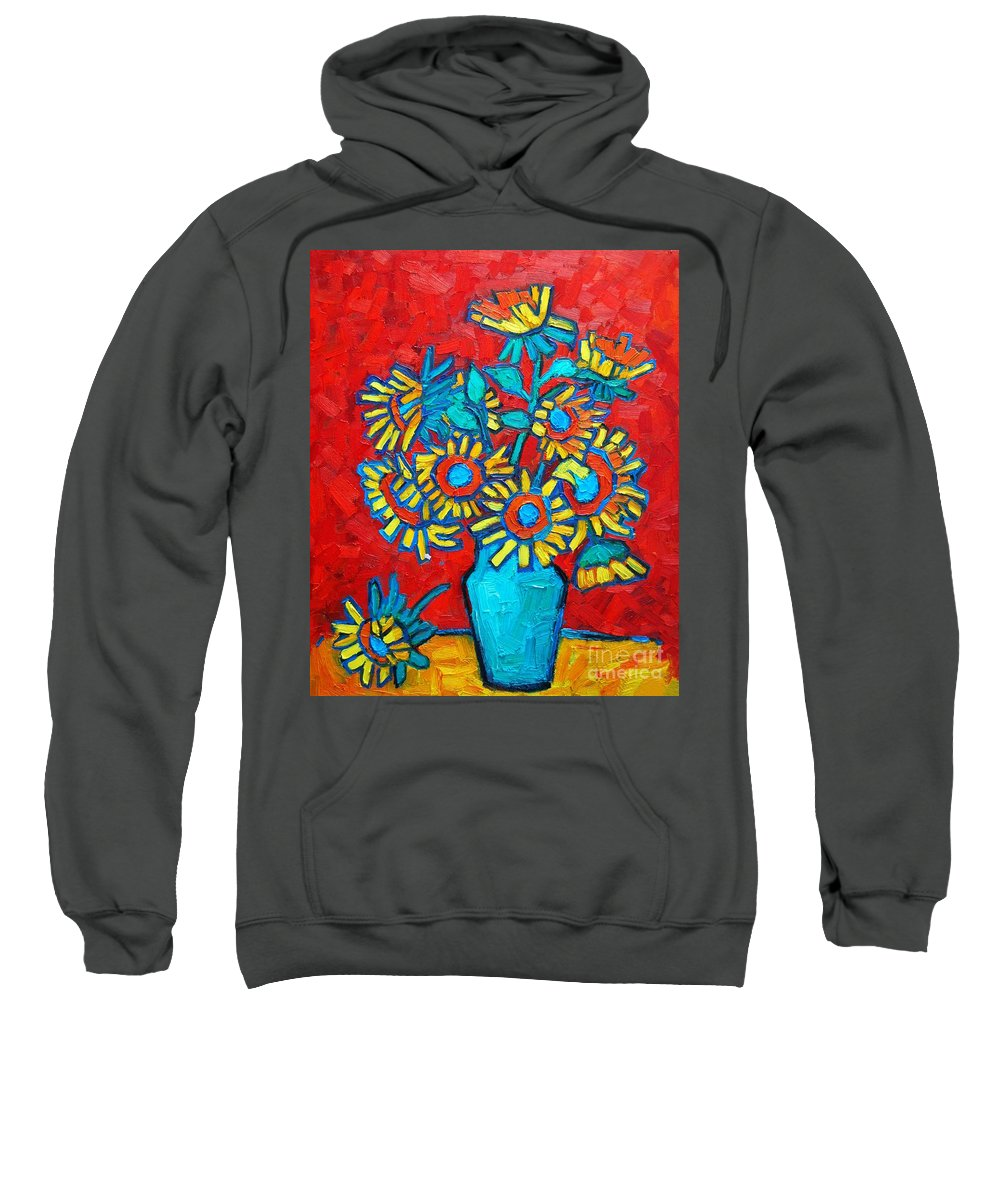 Sunflowers Sweatshirt featuring the painting Sunflowers Bouquet by Ana Maria Edulescu