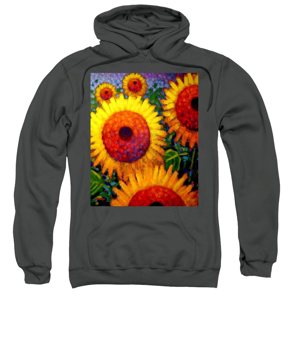 Flowers Sweatshirt featuring the painting Sunflowers by John Nolan