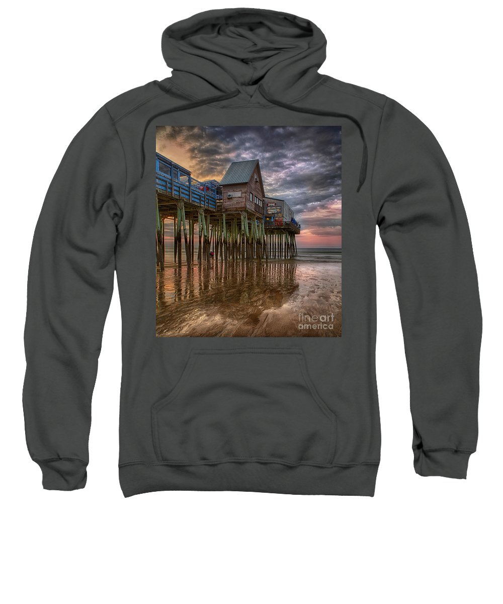 Amusement Park Sweatshirt featuring the photograph Sunrise Old Orchard Beach by Jerry Fornarotto