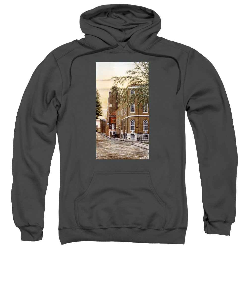 Wapping Sweatshirt featuring the painting Sunrise On Wapping High Street London by Mackenzie Moulton