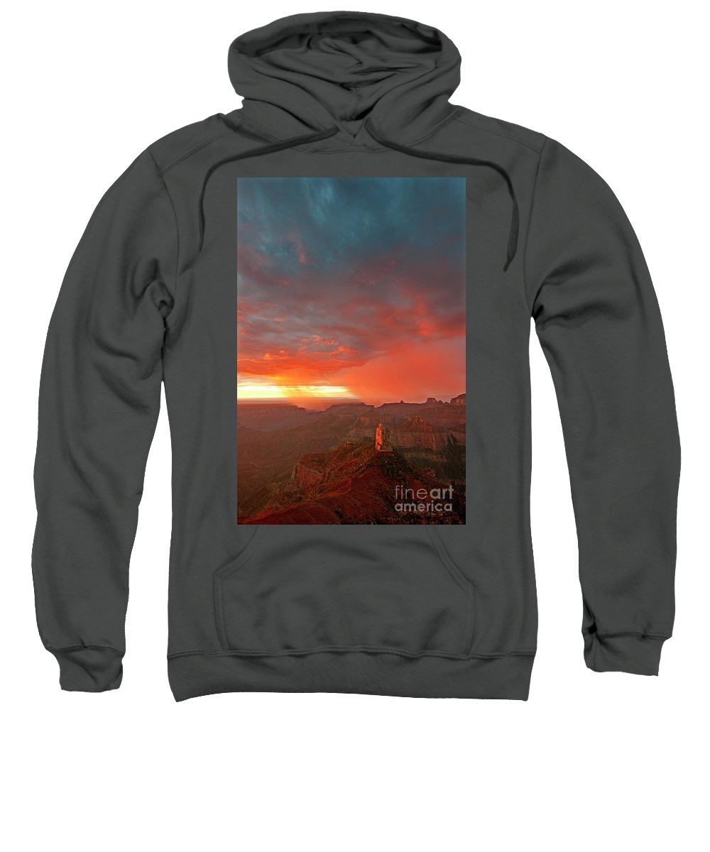 North America Sweatshirt featuring the photograph Sunrise Storm Point Imperial North Rim Grand Canyon Np Arizona by Dave Welling