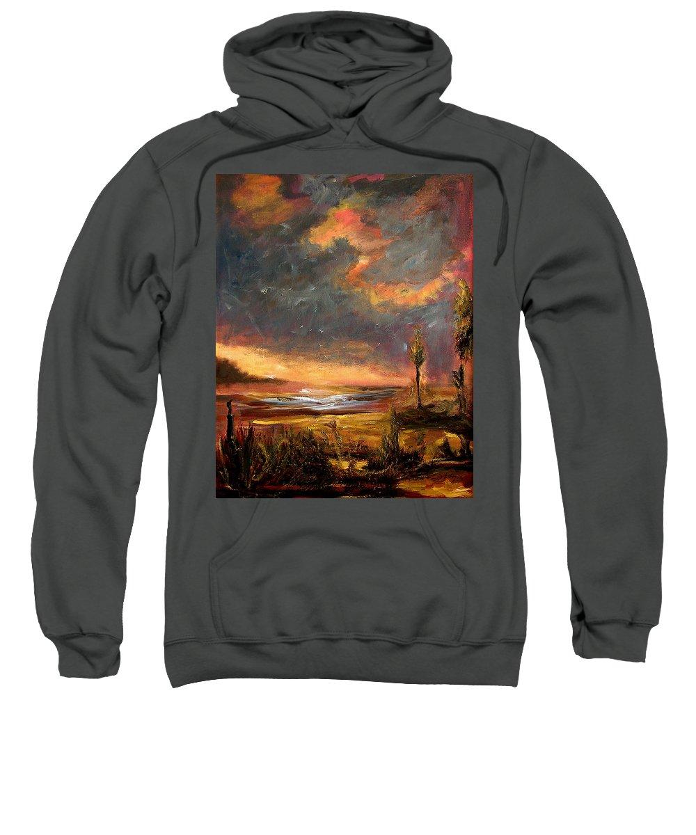 Original Sweatshirt featuring the painting Sunrise With Birds by Julianne Felton