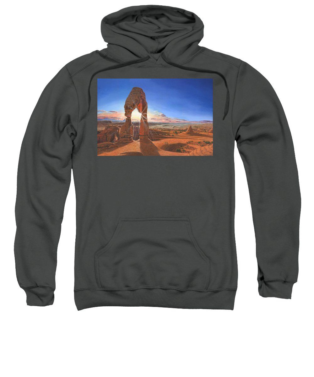 Delicate Arch Sweatshirt featuring the painting Sunset At Delicate Arch Utah by Richard Harpum