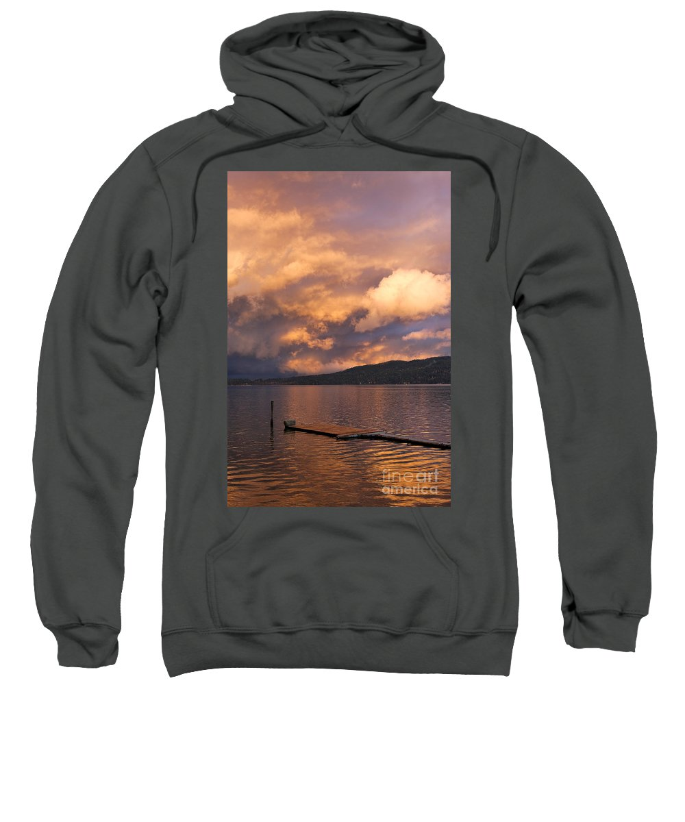 Sunset Sweatshirt featuring the photograph Sunset At The Dock by Louise Heusinkveld