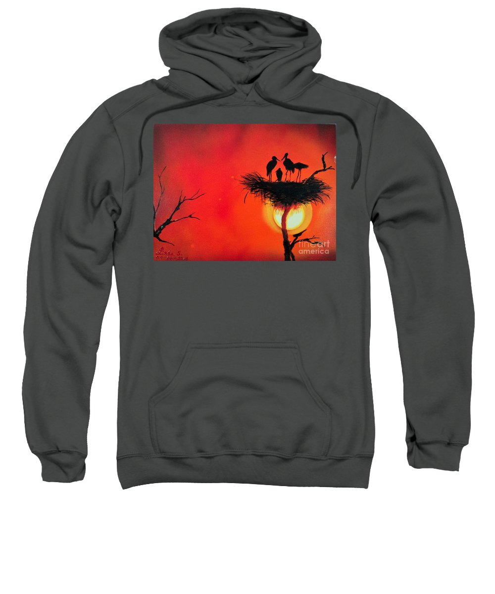 Sun Sweatshirt featuring the painting Sunset Home by Linda Lin