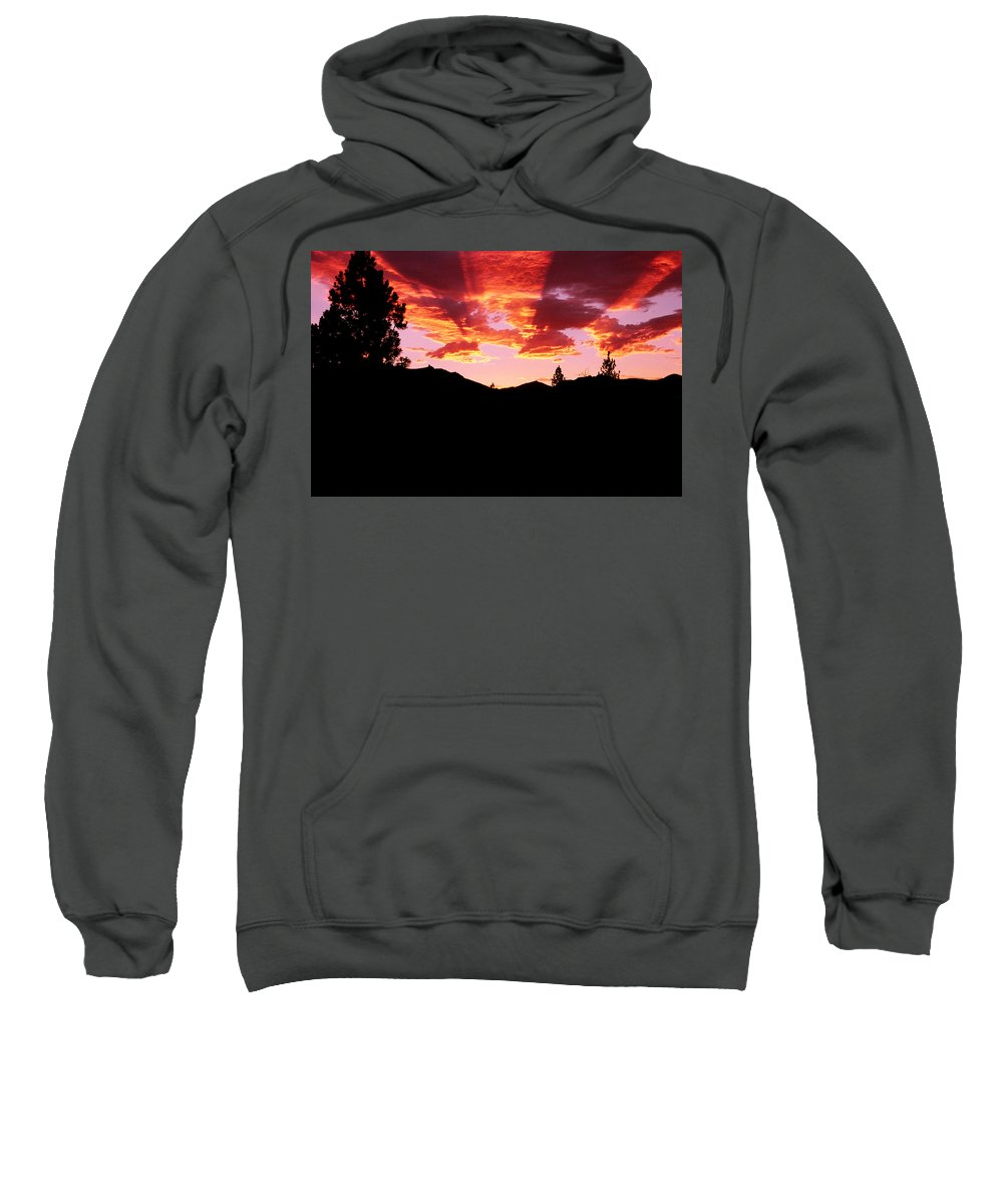 Mountain Sunset Sweatshirt featuring the photograph St. Mary's Sunset by Jim Cotton
