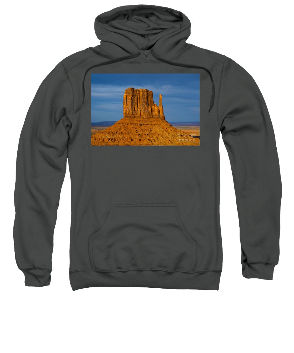 Monument Valley Utah Natural Monuments Mitten Mittens Rock Formation Formation Sunset Sunsets Monolith Monoliths Landscape Landscapes Landmark Landmarks Sweatshirt featuring the photograph Sunset On A Mitten by Bob Phillips