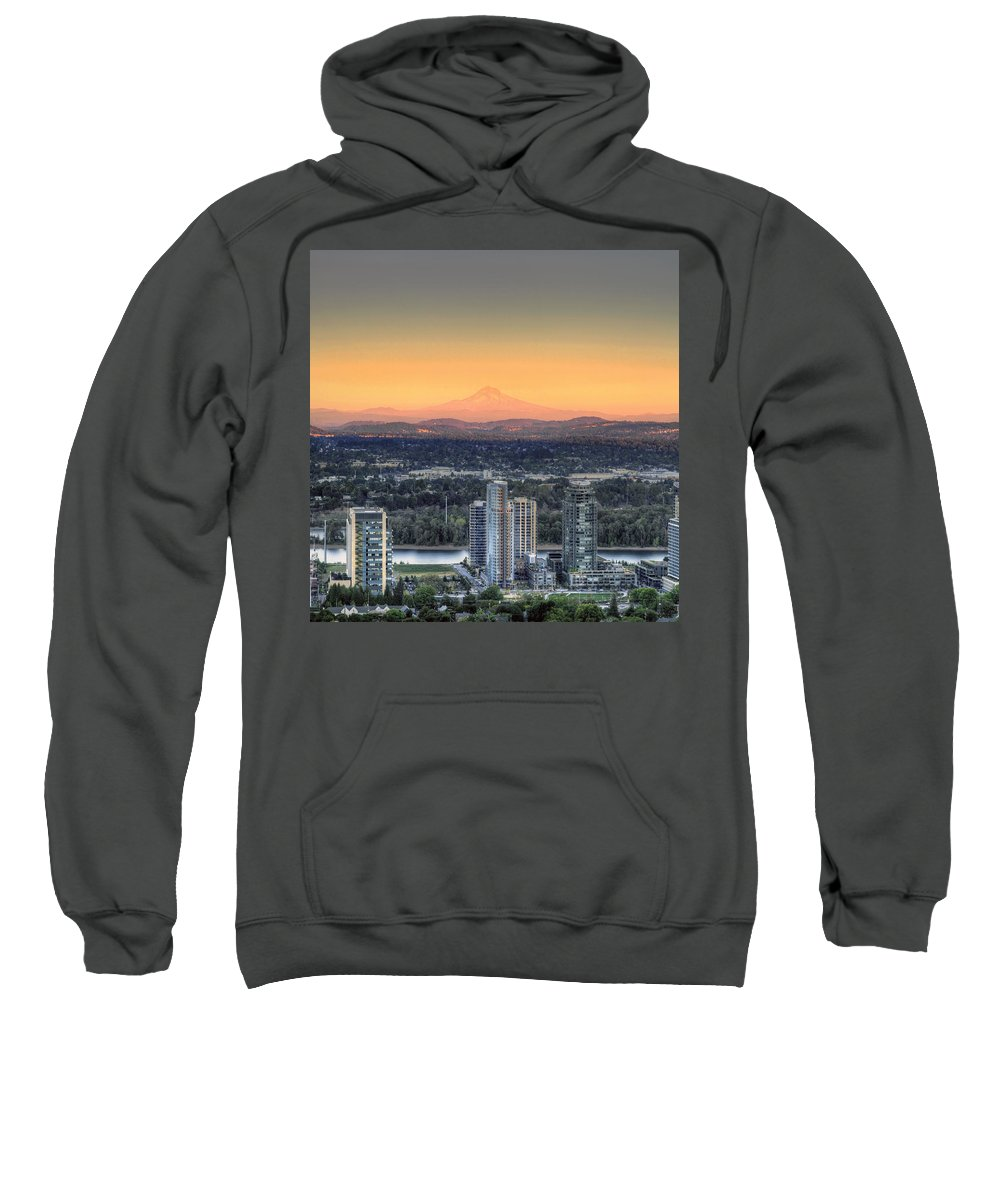 Sunset Sweatshirt featuring the photograph Sunset On Mount Hood by David Gn