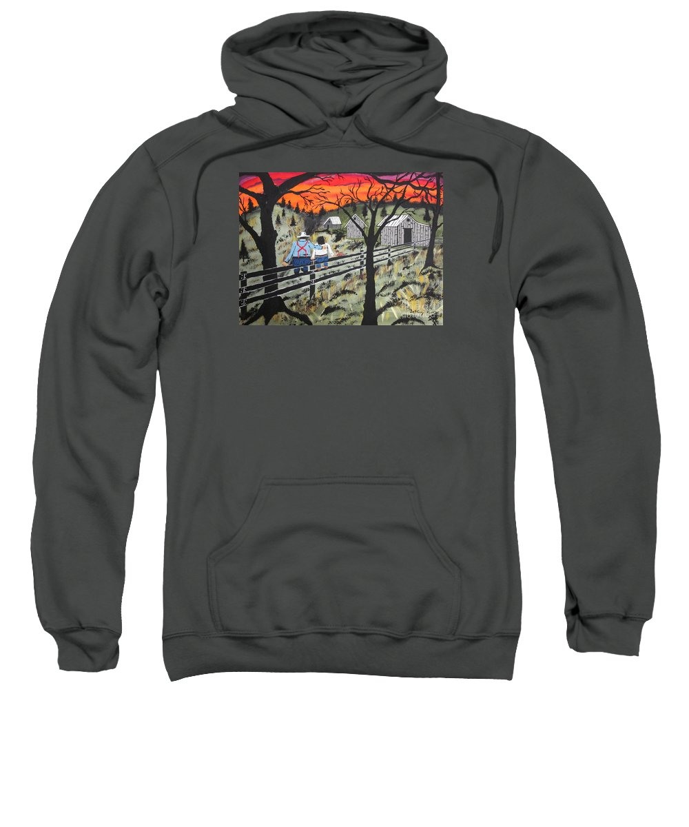 Beautiful Sky Sweatshirt featuring the painting Sunset On The Fence by Jeffrey Koss
