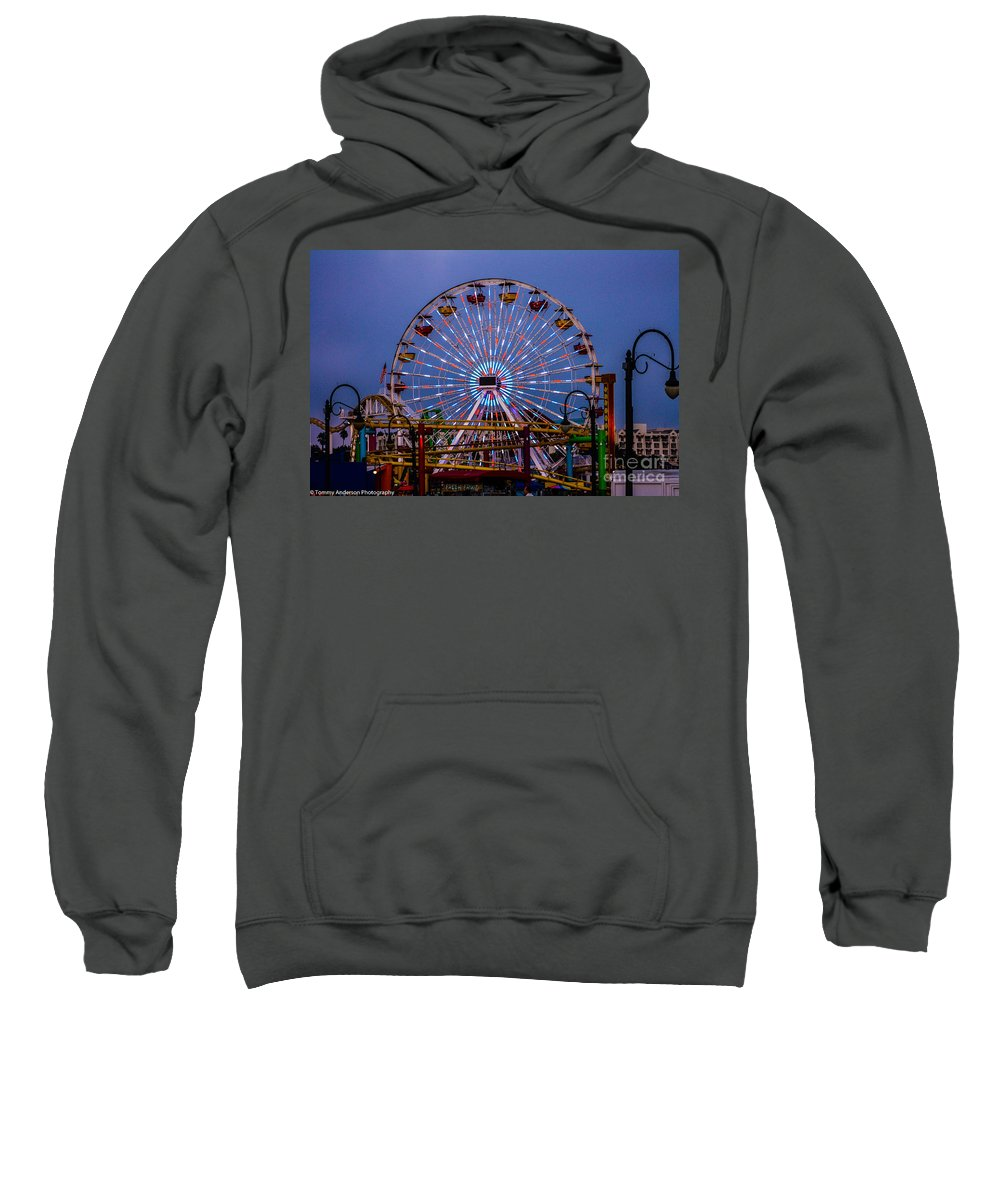 Santa Monica Sweatshirt featuring the photograph Sunset On The Santa Monica Ferris Wheel by Tommy Anderson