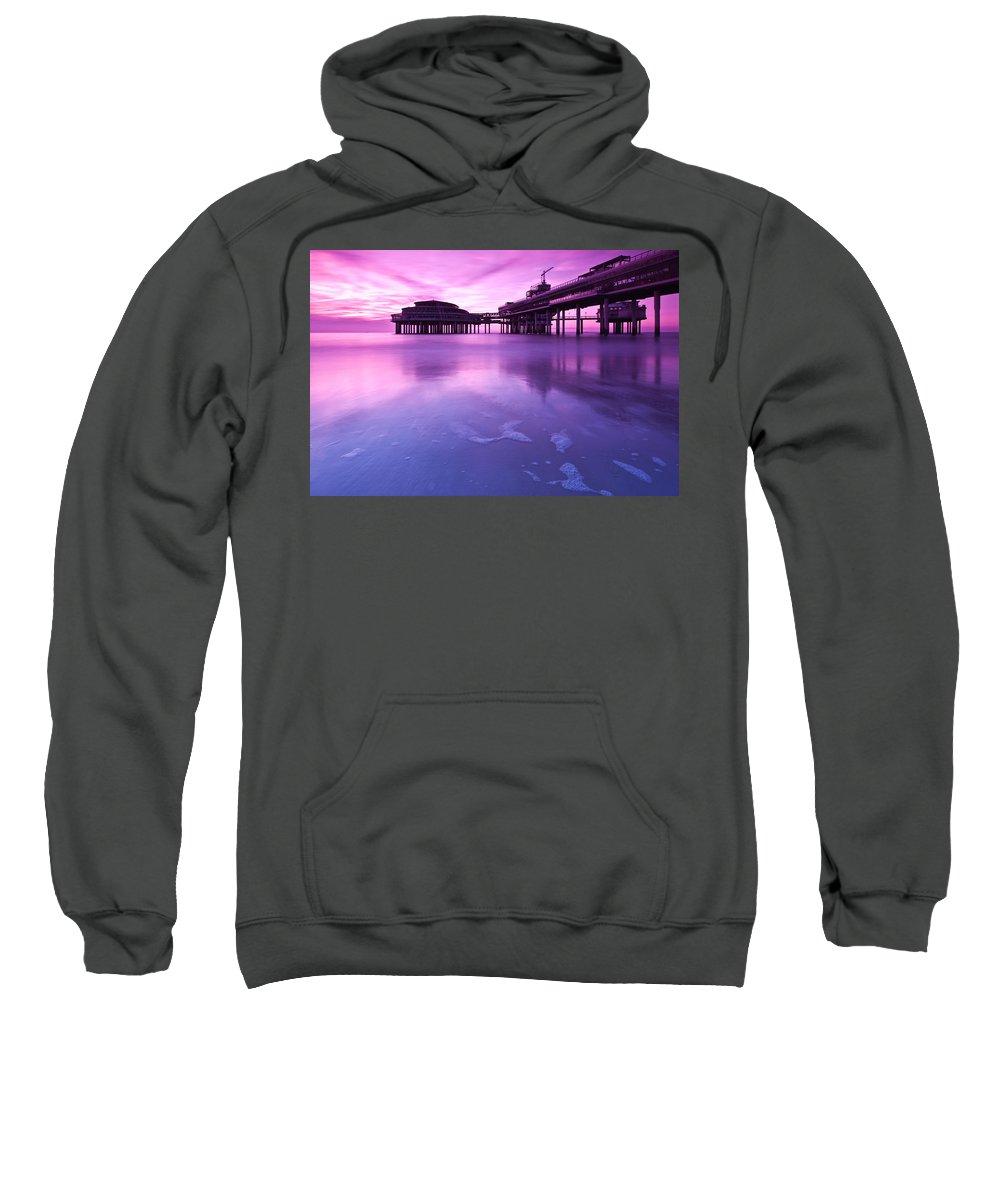 Scheveningen Sweatshirt featuring the photograph Sunset Over The Pier by Mihai Andritoiu