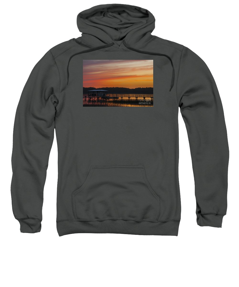 Sunset Sweatshirt featuring the photograph Sunset Over The Wando River by Dale Powell