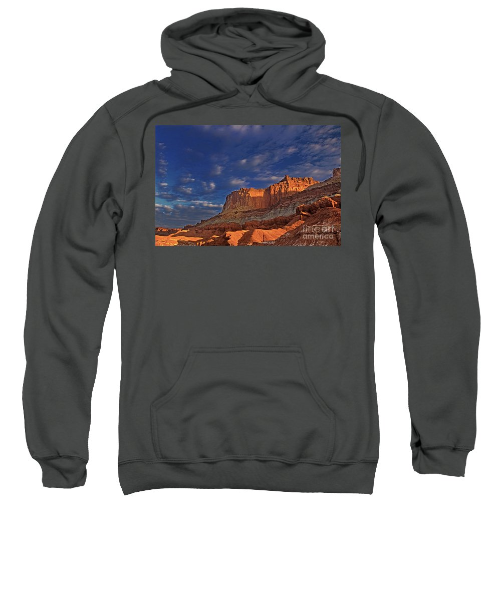 North America Sweatshirt featuring the photograph Sunset Over The Waterpocket Fold Capitol Reef National Park by Dave Welling
