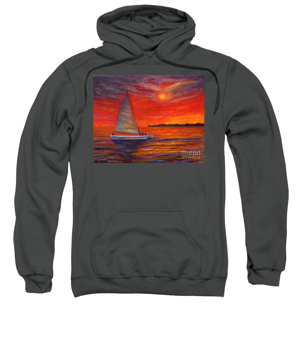 Sunset Sweatshirt featuring the painting Sunset Passion by Alina Martinez-beatriz