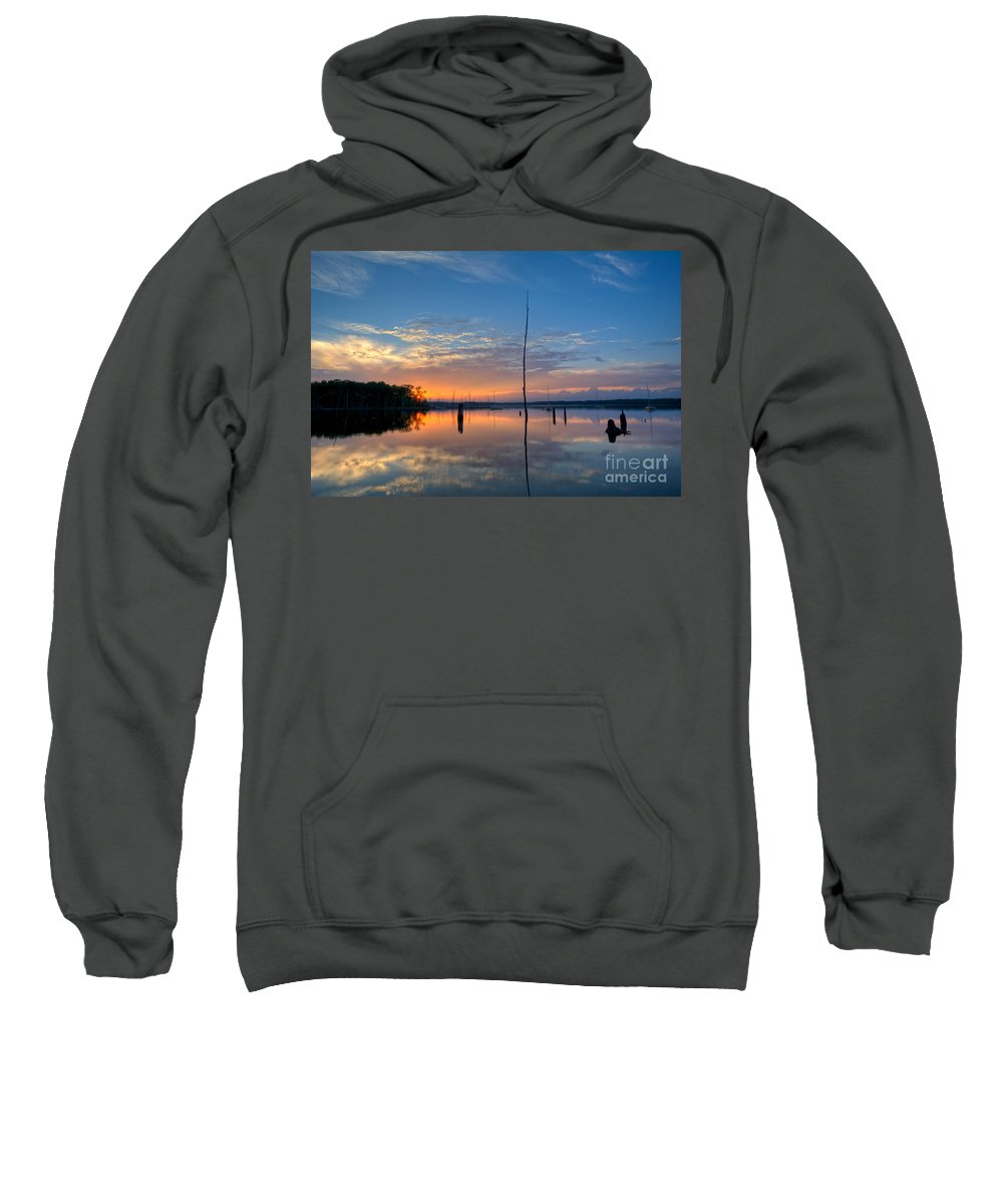 Manasquan Reservoir Sweatshirt featuring the photograph Sunset Reflections by Michael Ver Sprill