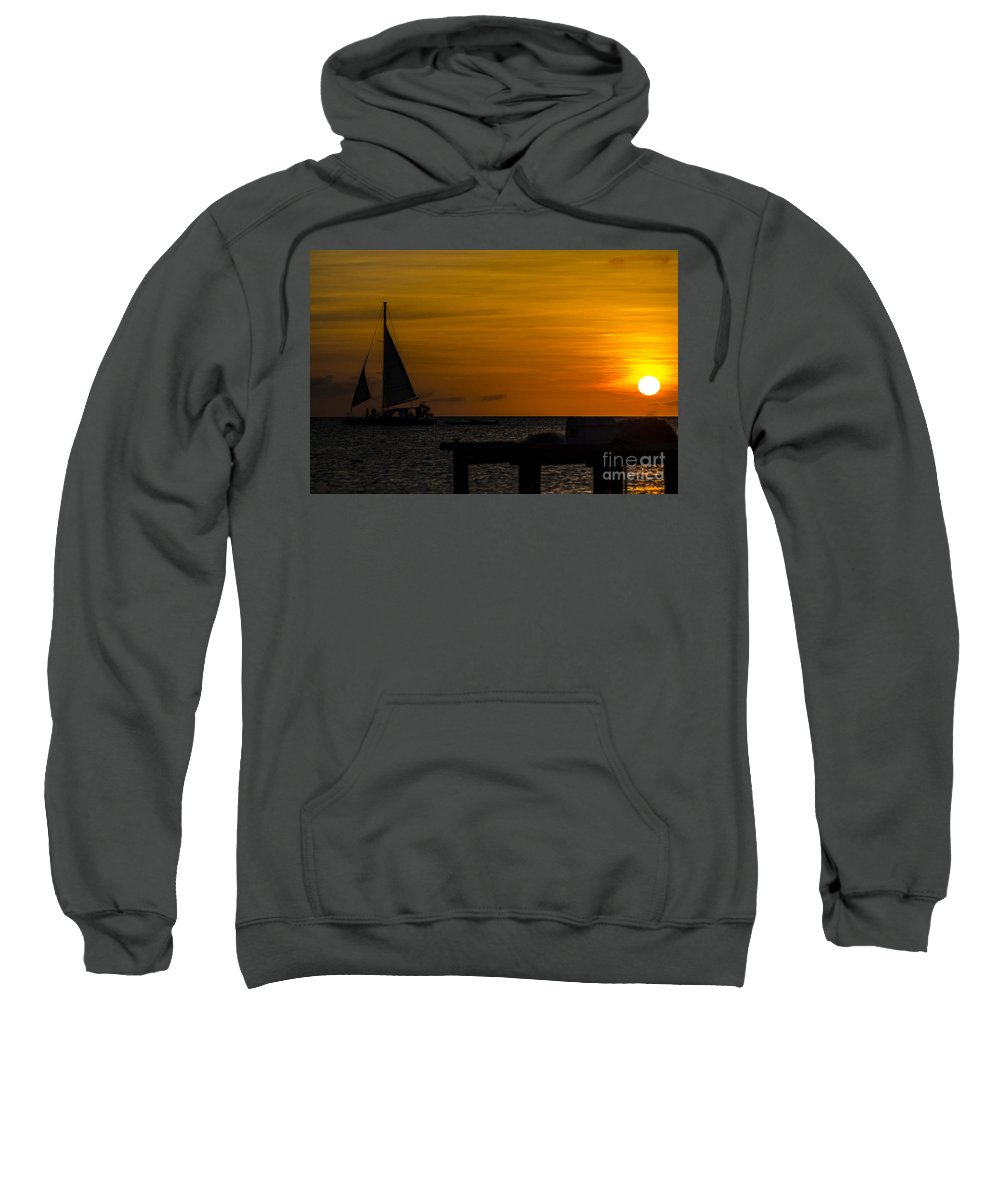 Sunset Sweatshirt featuring the photograph Sunset Sails by Judy Wolinsky