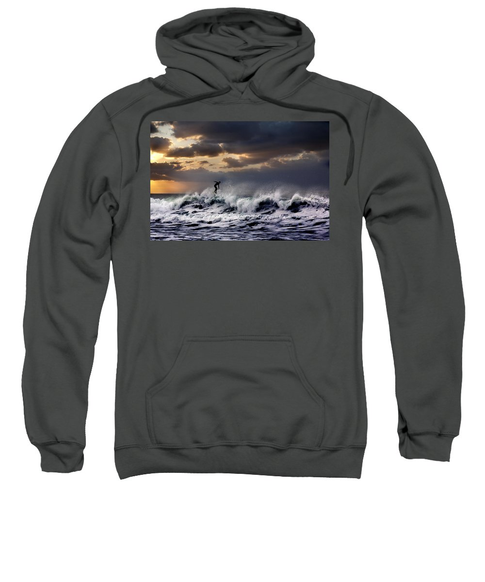 Surf Sweatshirt featuring the photograph Sunset Surfer by Diana Hughes